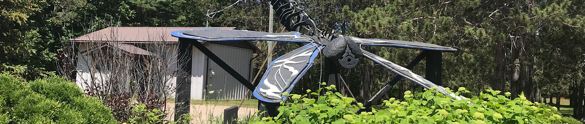 Dragonfly sculpture located in Cardiff, Ontario