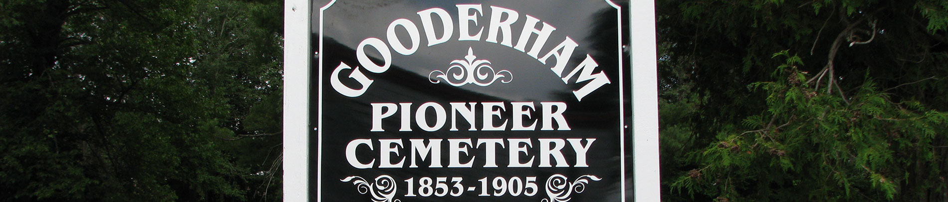 A sign that reads Gooderham Pioneer Cemetery.