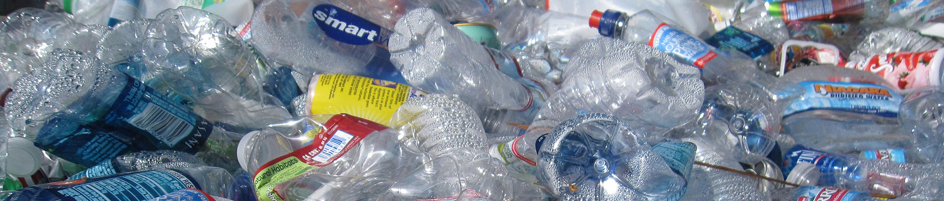 A close up of recycled plastic bottles.