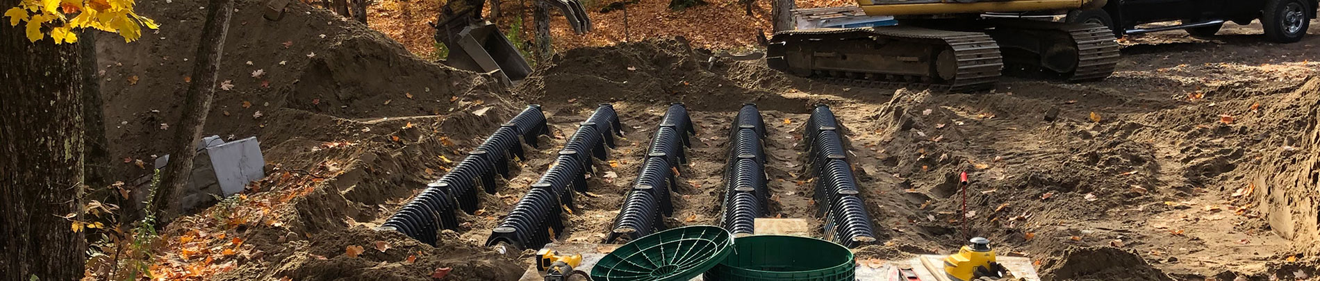 A septic system being installed.