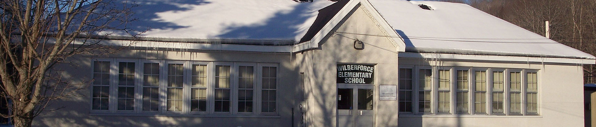 The exterior of Wilberforce Elementary School in the wintertime.