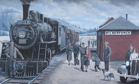 Mural of the IB & O train in Wilberforce.