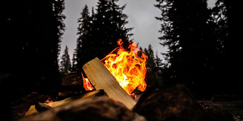A small campfire at night.