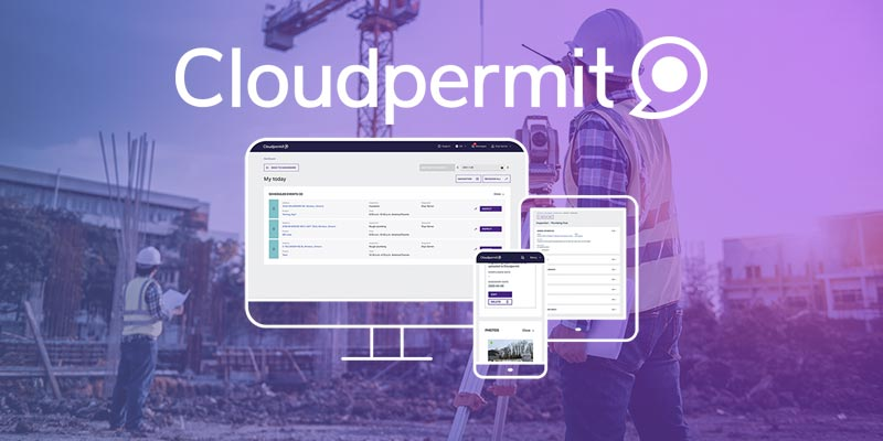 Cloud permit logo over to of image of construction site with purple shading.