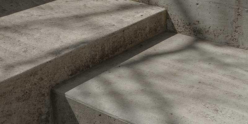 A close up photo of grey, concrete steps.