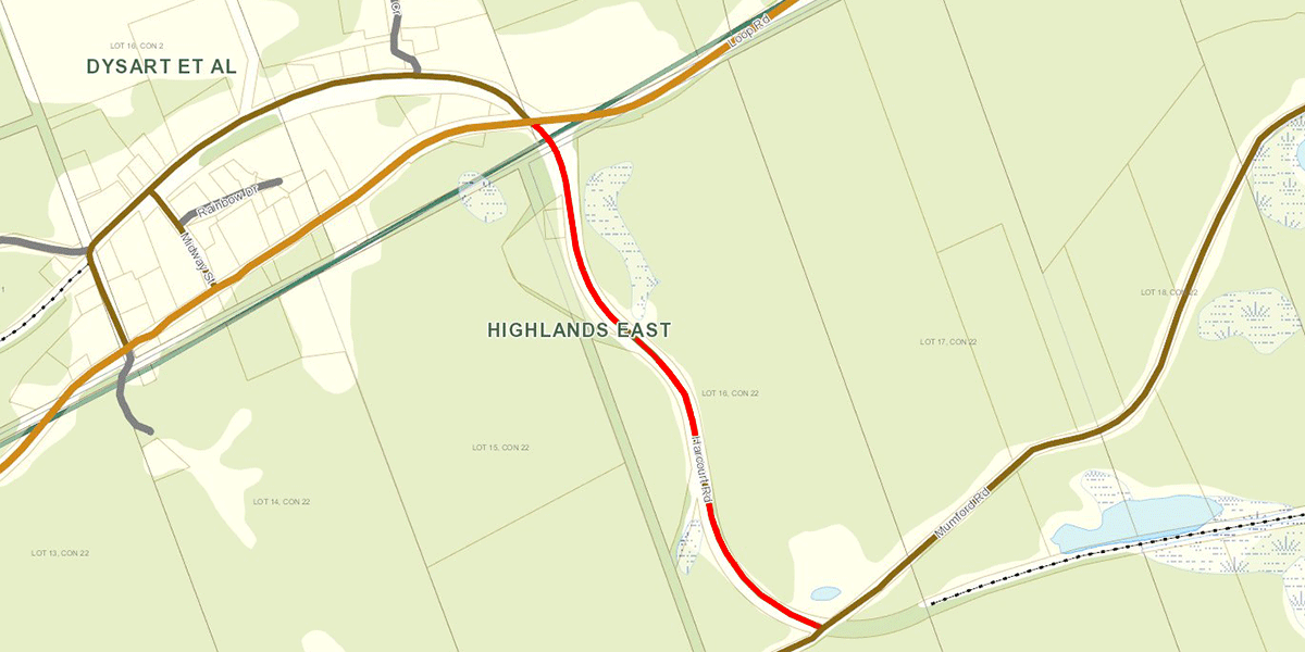 GIS map showing the road that is closed.