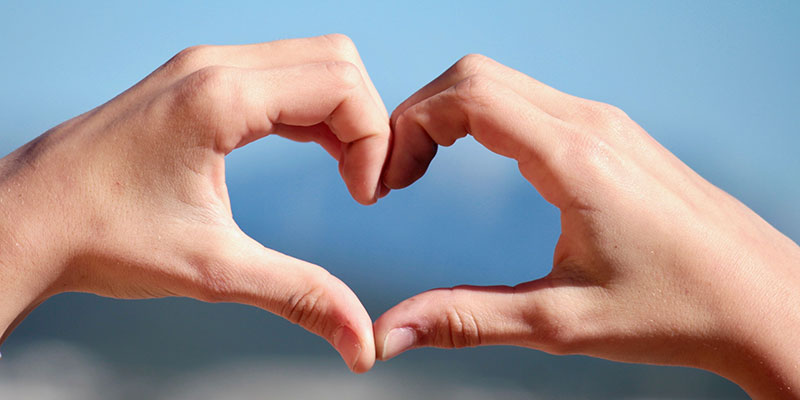 Someone's hands form the shape of a heart.