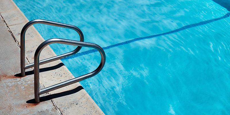 A pool sits empty.