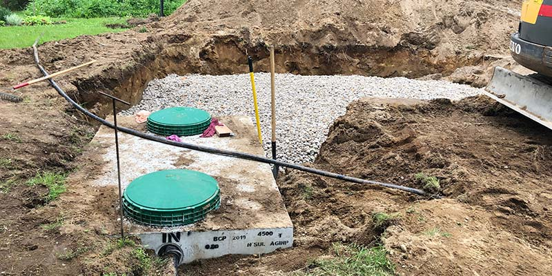 A septic system installation in progress.