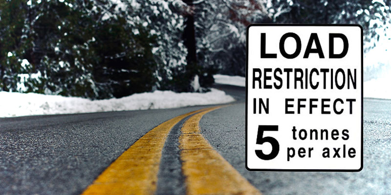 A load restriction sign superimposed on a spring road with melting snow.