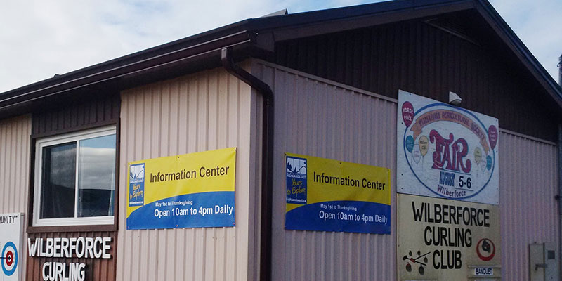 The outside of the information centre at the curling club in Wilberforce.