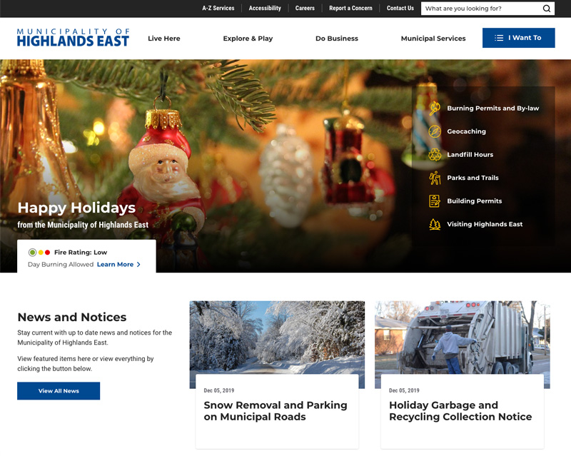 A screenshot of new highlandseast.ca website taken when the website launched in December 2019
