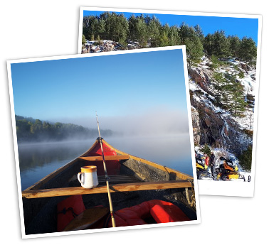 Canoe on a misty lake. Snowmobiles in front of a cliff.